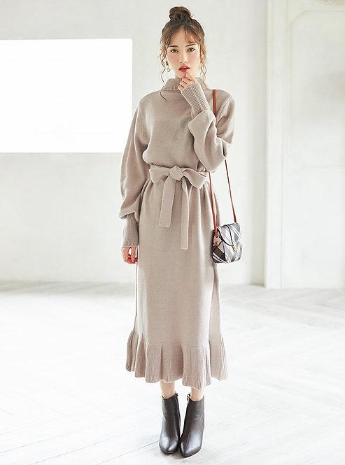GRL-腰帶針織連衣裙[C050]