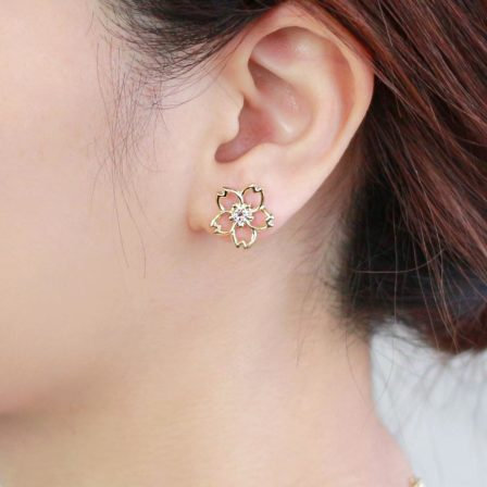 Osewaya-櫻花系列-櫻花金屬框框耳環❀[H014]