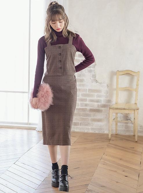 GRL-葛倫格紋緊身上衣X長裙套裝[C044]