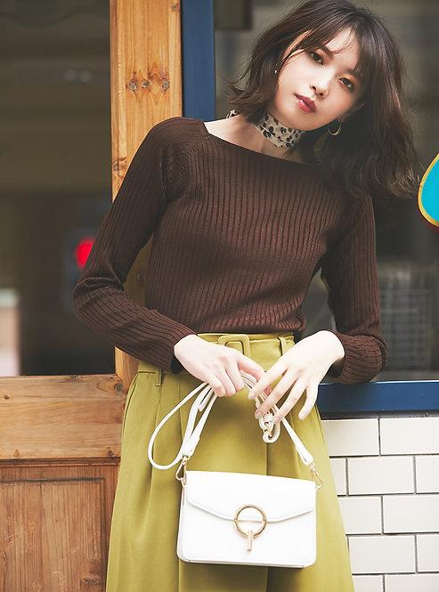方領羅紋針織上衣