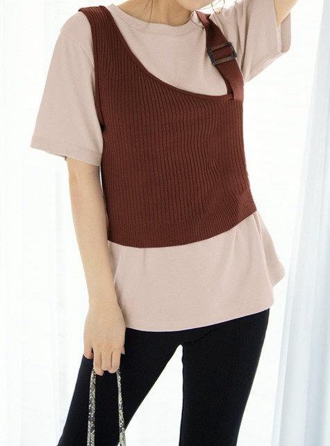GRL-不對稱背心T恤套裝[C014]
