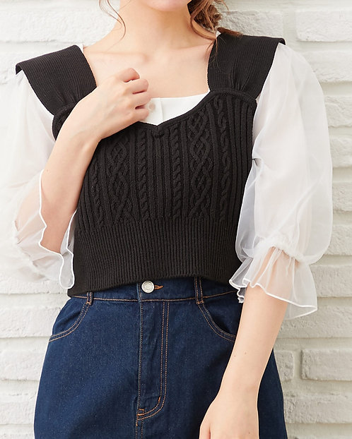 Ingni-針織背心+袖風琴上衣[E014]