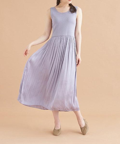 針織上身百褶連身裙[G012]
