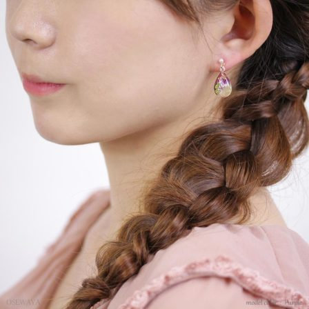 Osewaya-乾花系列-透明水滴乾花珍珠耳環♥ [2色入][H011]