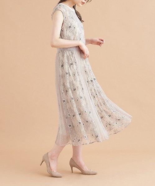 蕾絲薄紗活動連身裙[G014]