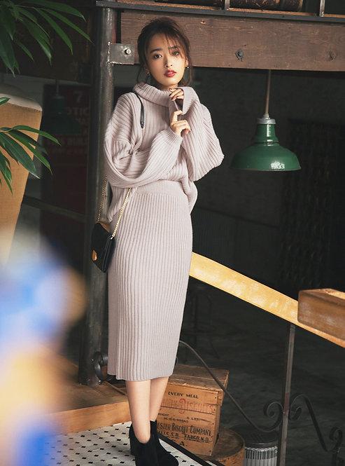 GRL-羅紋針編織毛衣x緊身裙套裝[C042]