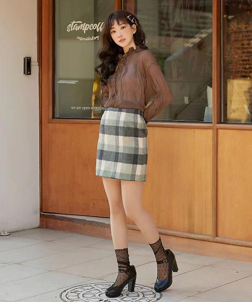 Heather-格紋裙[J016]