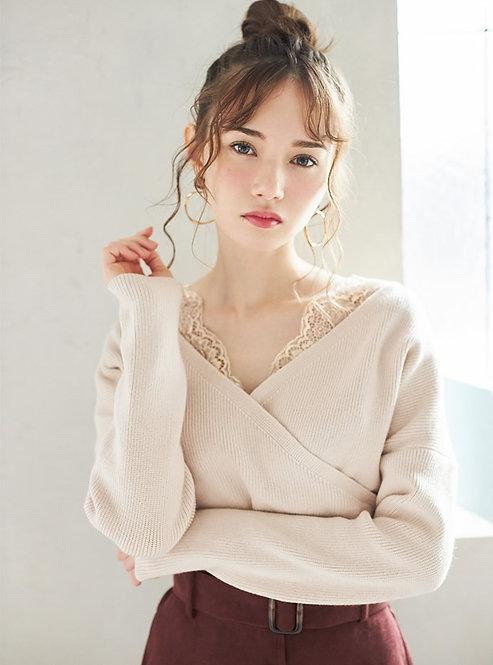 GRL-蕾絲重疊針織上衣[C049]