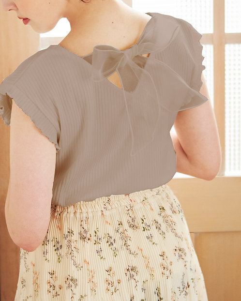 Ingni-可愛蝴蝶結法式袖上衣[E016]