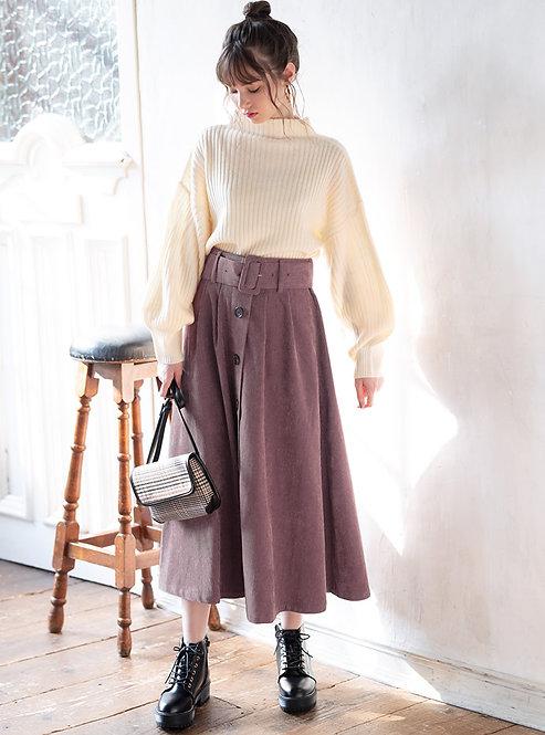 GRL-燈芯絨前鈕扣喇叭裙配皮帶[C040]