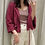 Thumbnail: Heather-中山領寬袖收腰襯衫[J018]