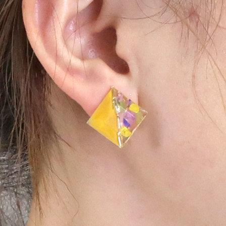Osewaya-乾花系列-鑽石形乾花金屬耳環♥ [4色入][H012]