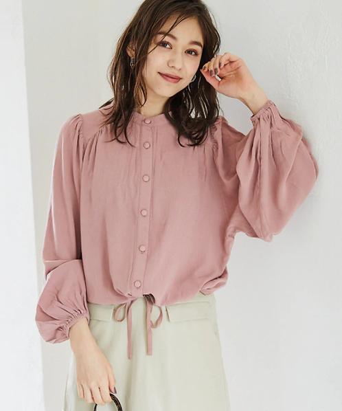 Heather-中山領寬袖收腰襯衫[J018]