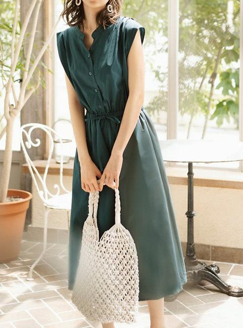 GRL-鈕扣無袖連身裙[C022]