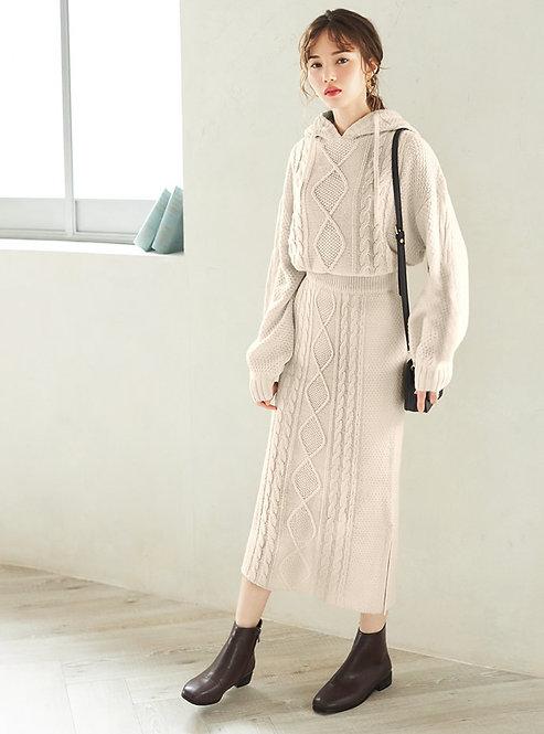 GRL-連帽針織上衣X裙子套裝[C043]