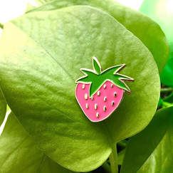 Strawberry enamel pins are now available