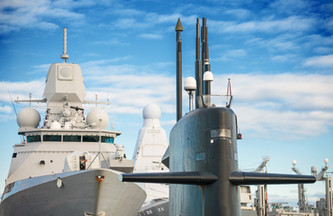 Naval fleet. Submarine and warships with