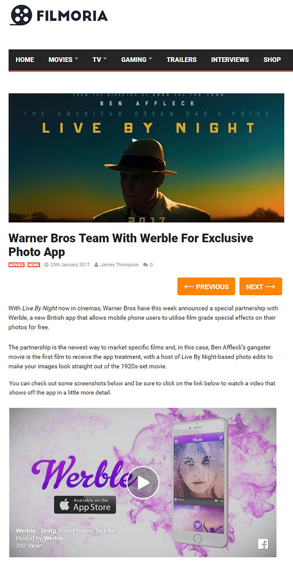 Warner Bros Team With Werble For Exclusive Photo App