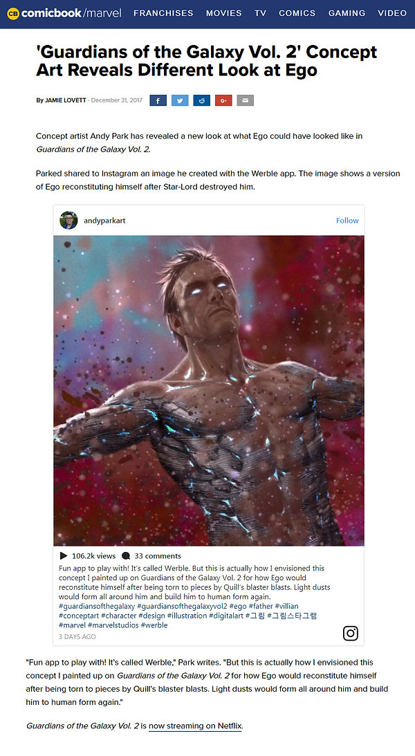 Guardians of the Galaxy Concept Art Reveals Different Look at Ego - Made using Werble App