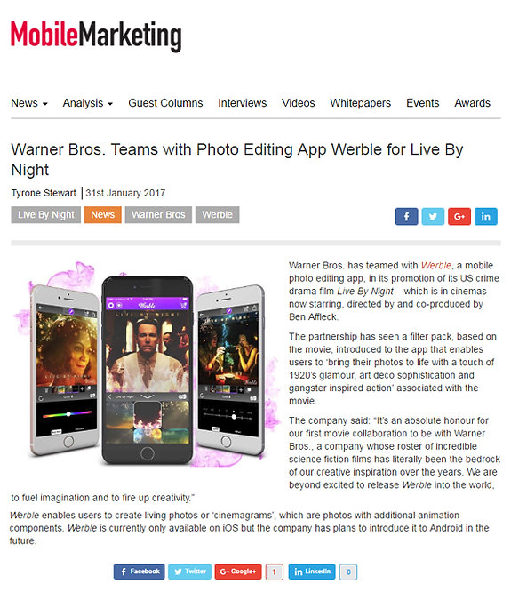 Warner Bros. Teams with Photo Editing App Werble for Live By Night
