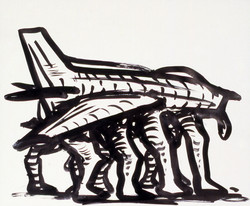Jet with Legs / Ink on Paper