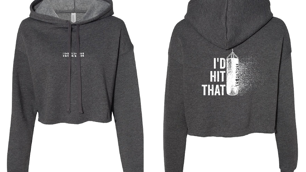 Cropped Hoodie Heather Grey I'D HIT THAT