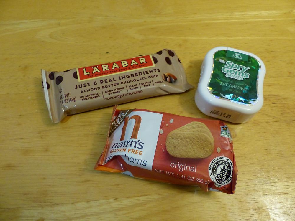 Larabar, Nairn's gluten free grahams, and Spry Gems mints