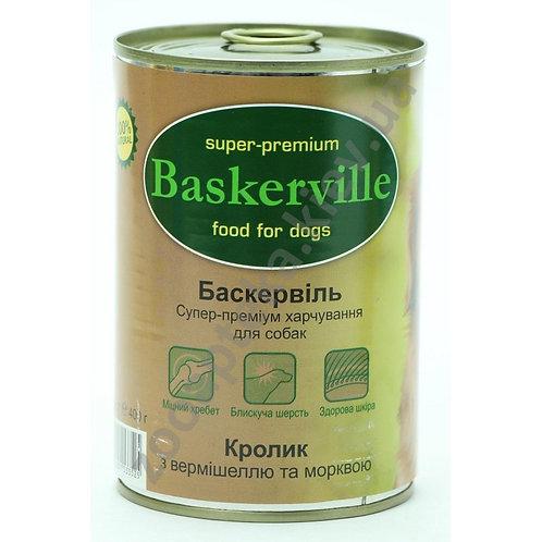 Baskerville - консервы  для собак, с кроликом, вермишелью и морковью