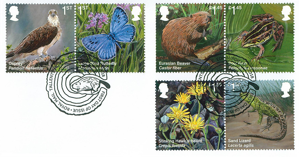 Stamps - re-introuduced species by Tanya Achilleos Lock