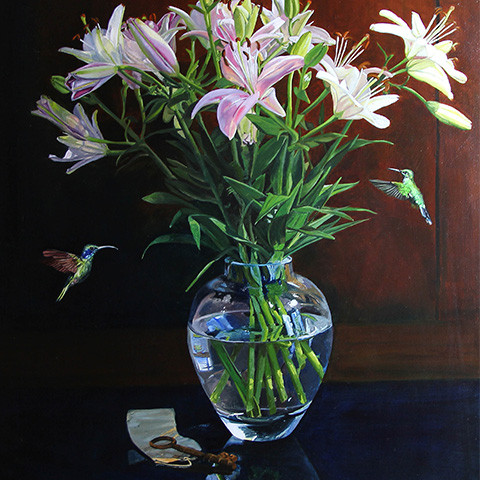 Humming birds with vase – Flying in for lunch