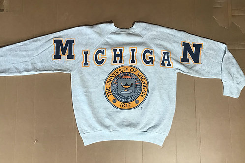 Michigan Spell Out Script & Crest
