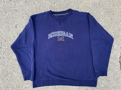 Embroidered Script and Logo Crewneck