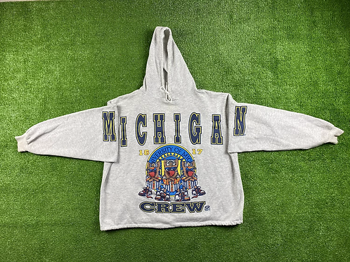Crew Graphic And Full Script Crop Hoodie