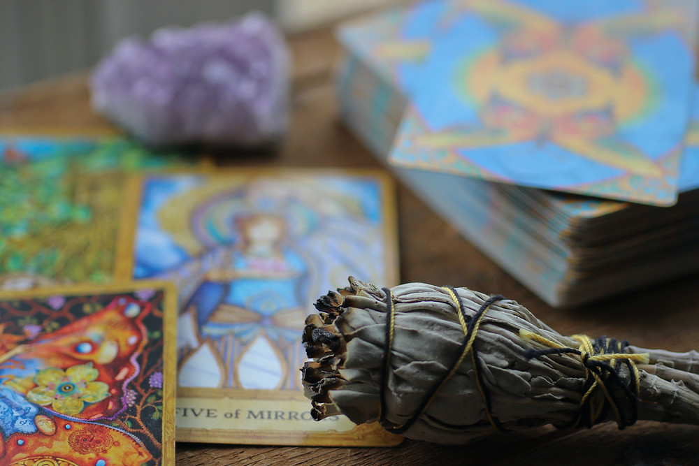 California White Sage Smudge Stick and Tarot Cards
