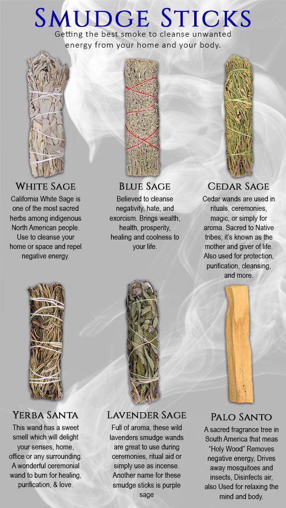 Info Graphic of Smudge Sticks and their uses