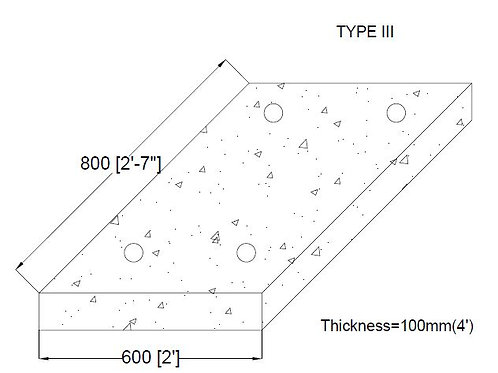 600mm x 800mm x 100mm Cover Slab