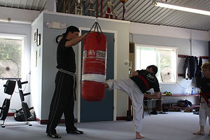Master Dan Linde teaching taekwon do at the Vermont Taekwon-Do Academy