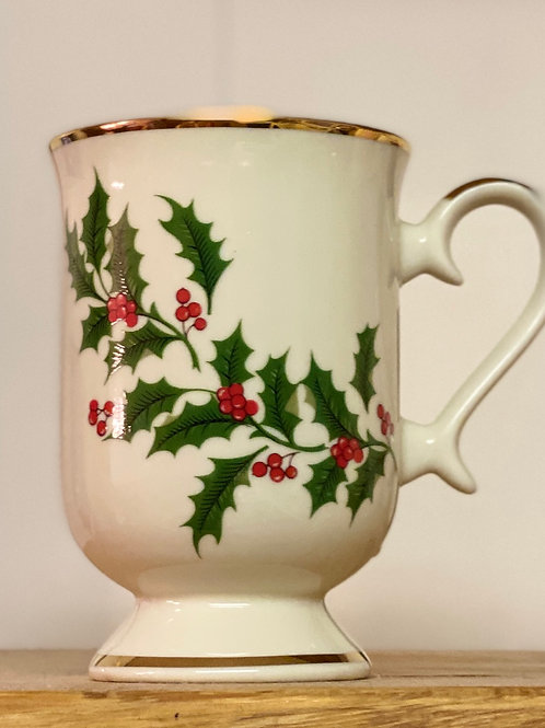 Holiday Holly Teacups - set of 6