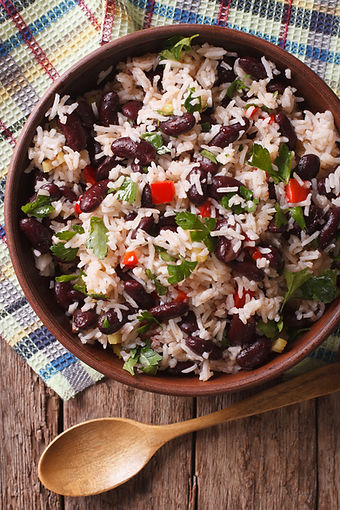 Rice with red beans and vegetables in a