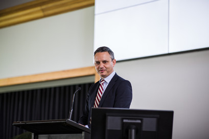 Minister Hon James Shaw, speaking at the