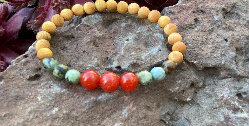 Master Healer- Carnelian & Turquoise Bracelet