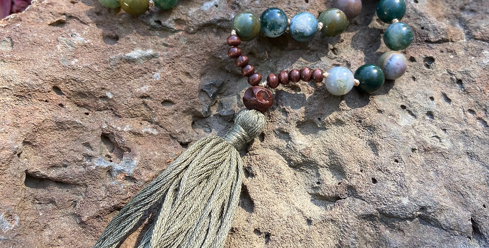 Mother Earth Mala- Green Jasper