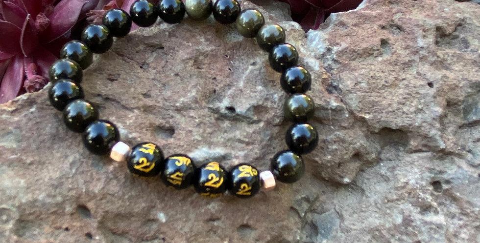 Om Mani Padme Hum & Gold Sheen Obsidian