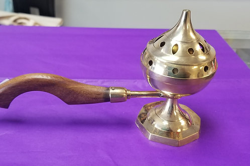 Brass Burners Incense Burner with Wood Handle