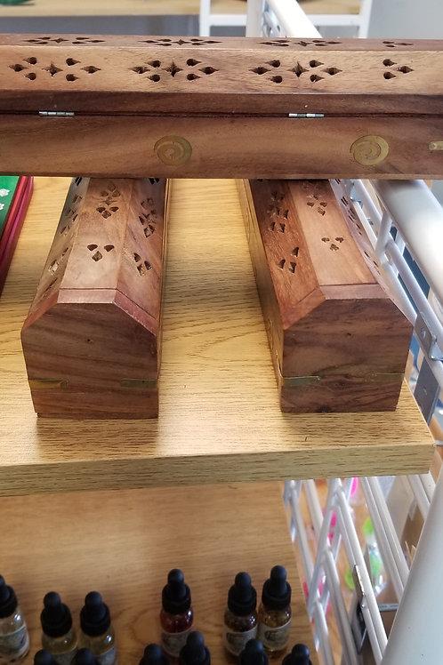 Wooden Coffin Incense Burner