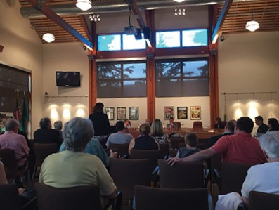 The debate over renovation of the Old Schoolhouse and development of the Woodinville Civic Campus helped draw more than 50 to the June 6 city council meeting. (Photo by Bill Lewis)