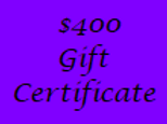 Gift Certificate for $400 Value