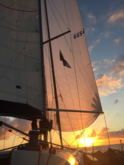 Sunset sailing with the spinnaker