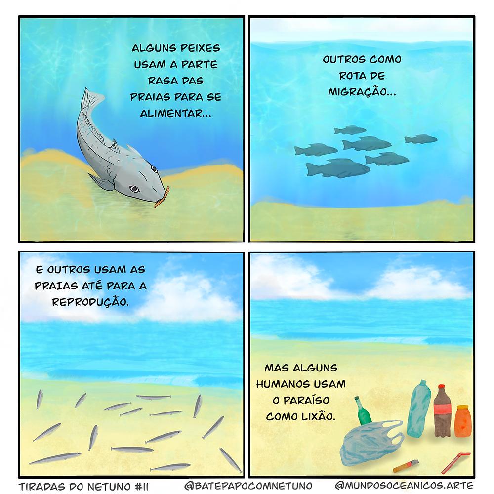 """A tirinha colorida, com quatro quadros, mostra cenas na praia emersa e submersa com narração escrita em cada um. No rodapé consta que esta é a Tirada do Netuno #11, feito por @BatePapocomNetuno e @MundosOceanicos.Arte. Quadro 1 - Um peixe cinza próximo ao fundo de areia está comendo um poliqueta laranja, ao fundo a água do mar é azul clara. A narração diz """"Alguns peixes usam a parte rasa das praias para se alimentar…"""" Quadro 1 - Um cardume de seis peixes cinza distantes nadam para a direita um pouco acima da areia em um fundo representando a água azul clara. A narração diz """"Outros como rota de migração…"""" Quadro 3 - Outro cardume de peixes mais finos, mas também cinzas, está na zona de espraiamento (ou o espelho d'água) de uma praia com areia e águas claras, com poucas ondas, e ao fundo um céu azul com nuvens brancas. A narração diz """"E outros usam as praias até para a reprodução."""" Quadra4 -Na areia da praia, com o mar ao fundo, há agora vários itens de lixo: sacolas de plástico, garrafas de bebidas, um pote, uma bituca de cigarro e um canudo. A narração diz """"Mas alguns humanos usam o paraíso como lixão."""""""