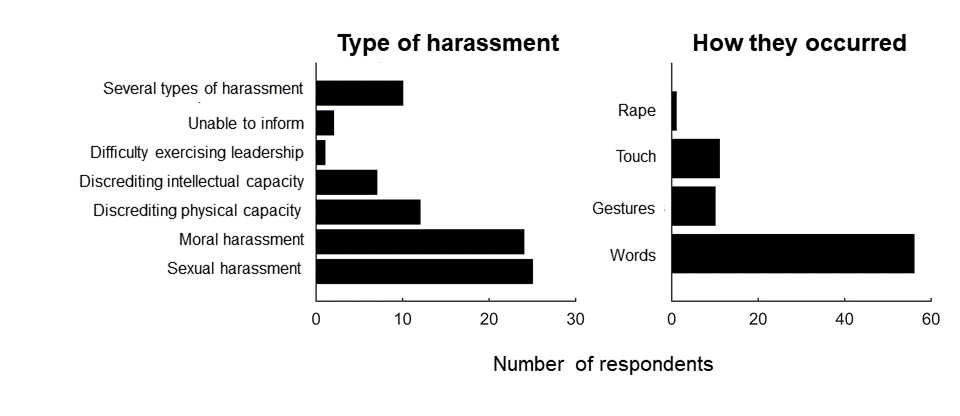 Graph showing the types of harassment reported in the sexual harassment survey conducted.